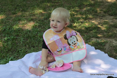 smash cake photo ideas, Minnie Mouse bib