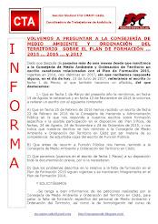 VOLVEMOS A PREGUNTAR A LA CONSEJERÍA DE MEDIO AMBIENTE Y ORDENACIÓN DEL TERRITORIO SOBRE EL PLAN DE