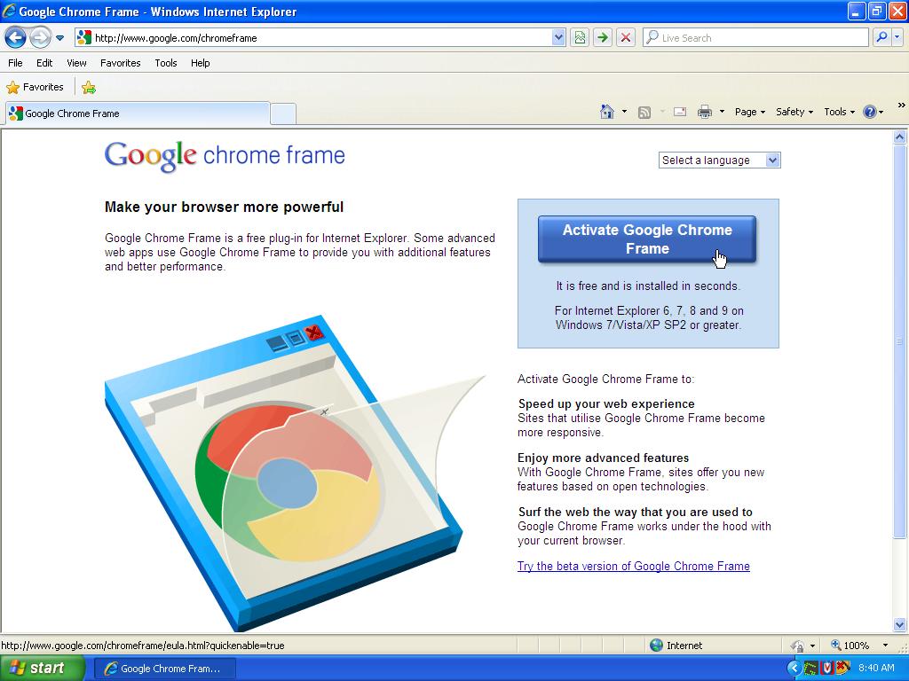 EIPS Technology: Installing Google Chrome Frame in Internet Explorer 8