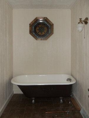 48 inch clawfoot tub. Refurbished clawfoot tub re installed in the bathroom 5 Acres  A Dream Tub Dub Done