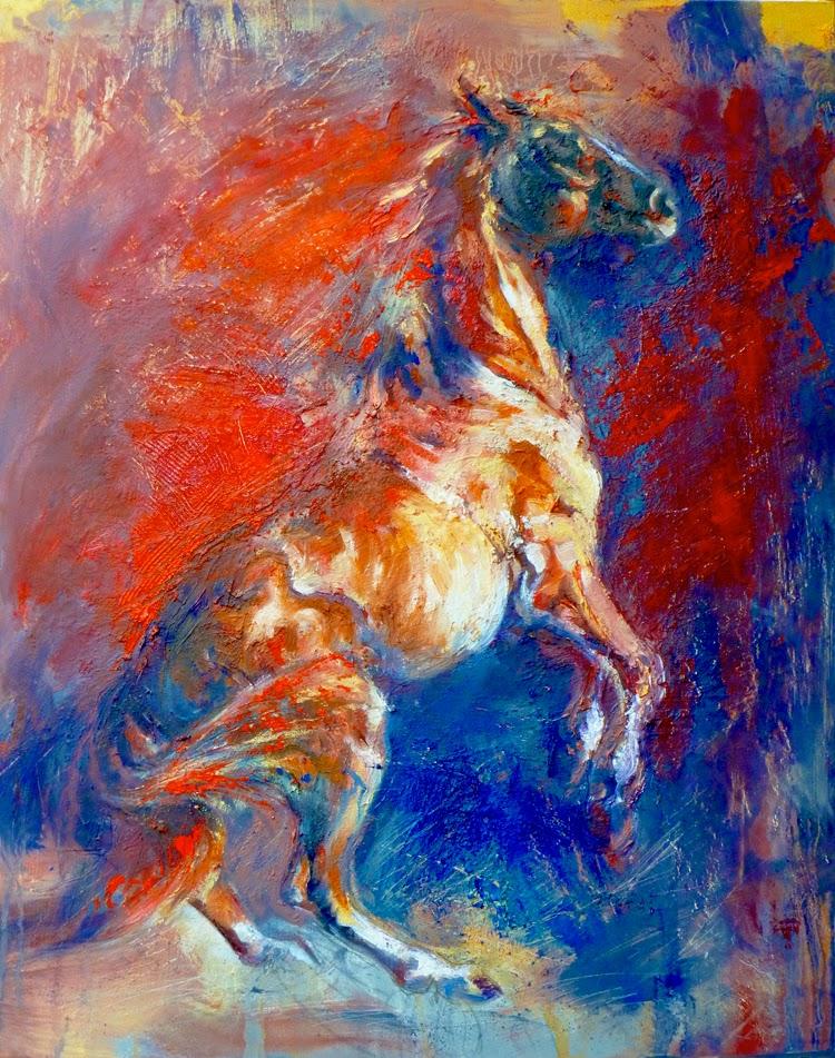 EQUINE artwork horse art equestrian animal art oil painting WIld Joanna Zeller Quentin Moose Pants Studio 2014