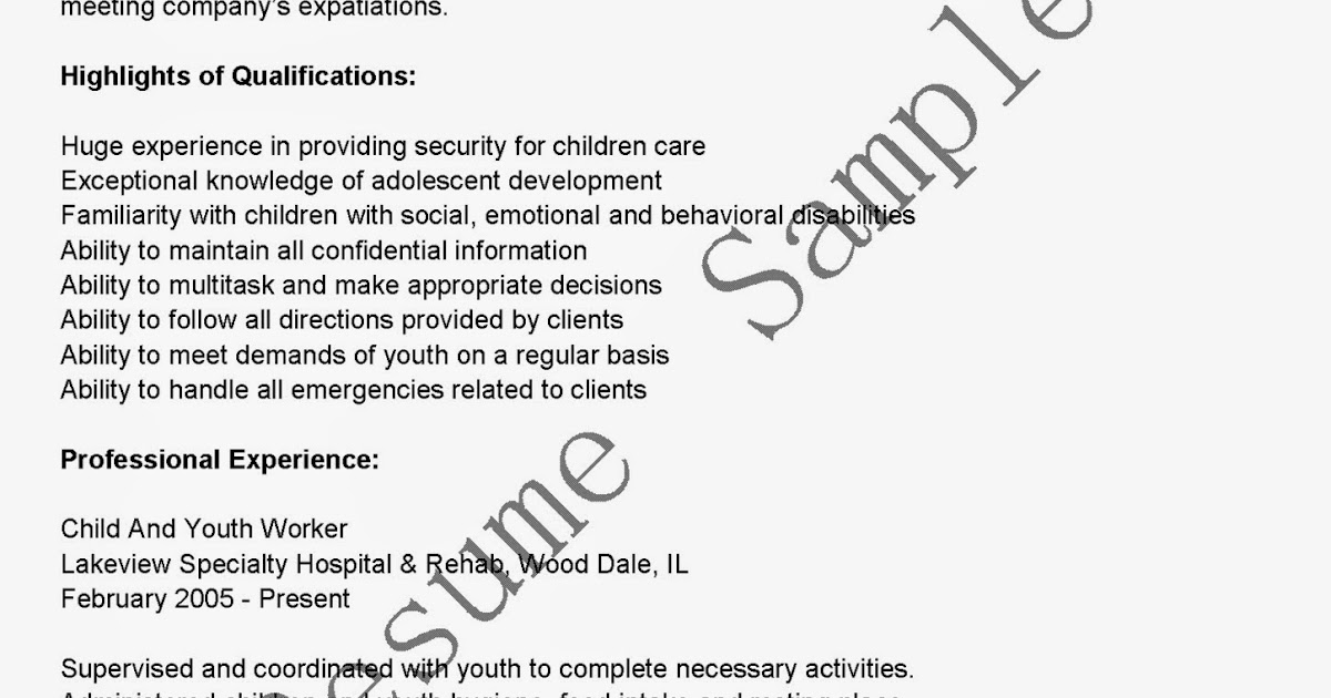 resume sles child and youth worker resume sle