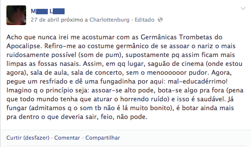 Post no Facebook sobre assoar o nariz