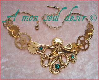 Collier steampunk pieuvre poulpe kraken nautilus 20000 lieues sous les mers jules verne rouages gears octopus necklace