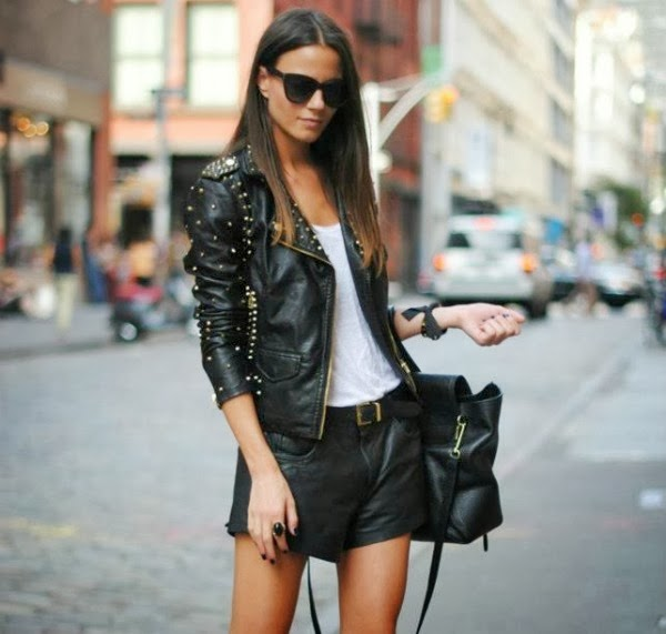 moto jacket, leather shorts