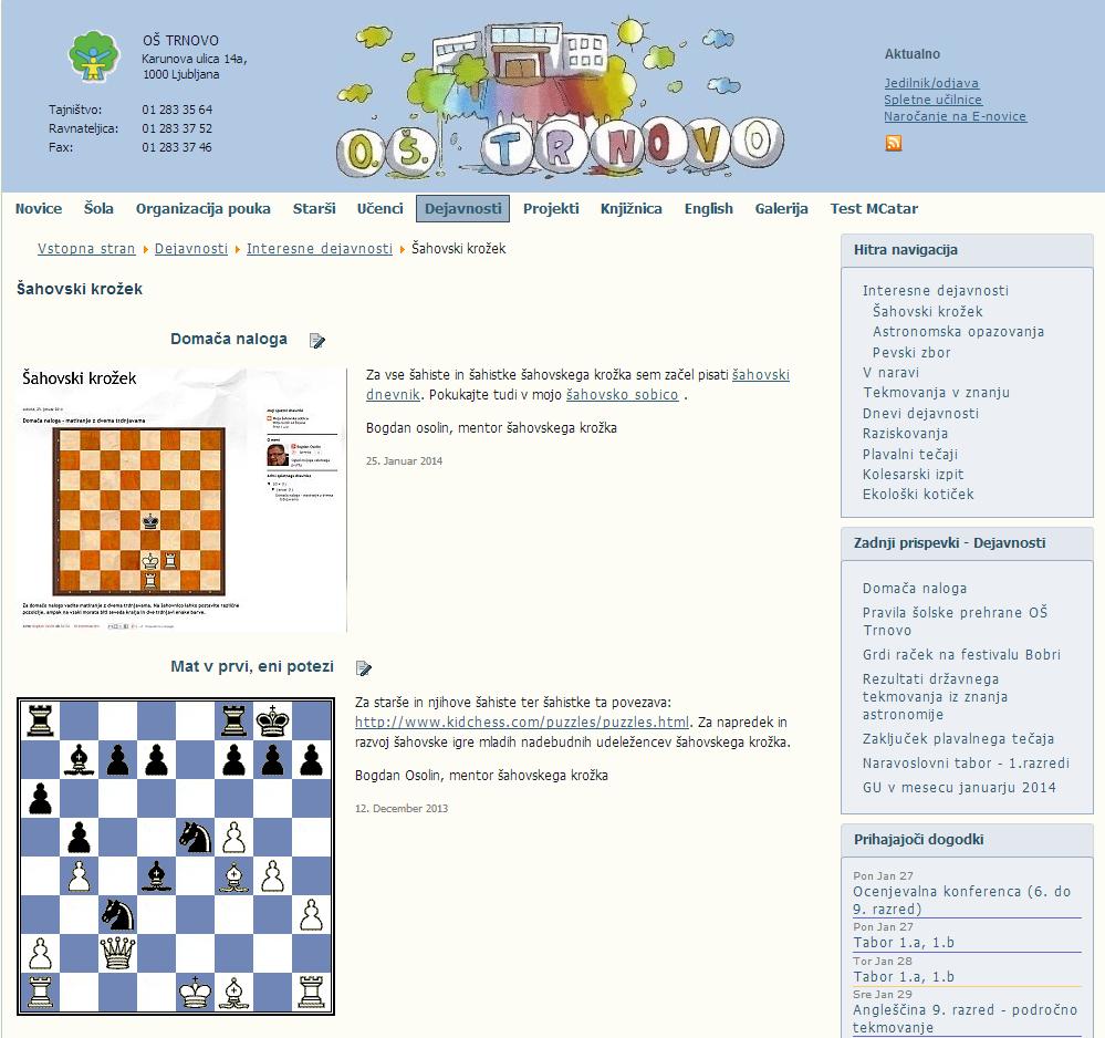 Šahovski krožek OŠ Trnovo