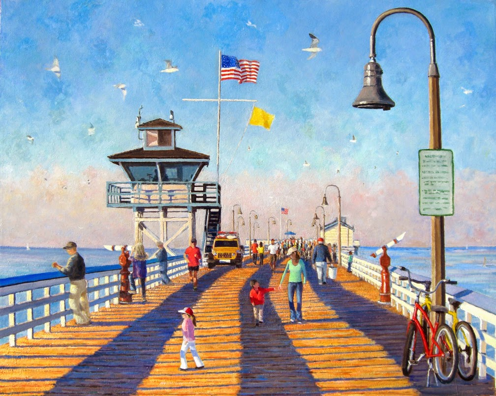 Painting of walkers and people enjoying San Clemente Pier
