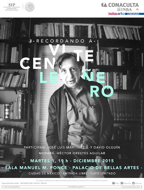 Recordarán a Vicente Leñero en el Palacio de Bellas Artesa un año de su partida