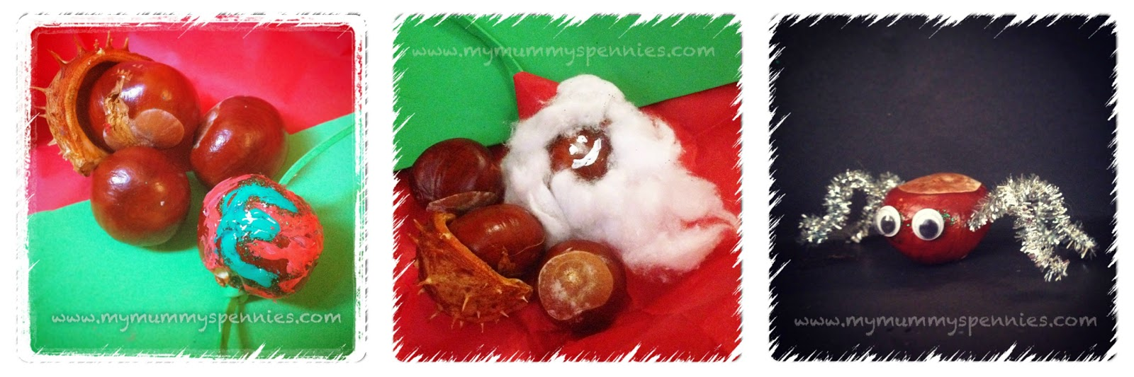 Make holiday decorations with conkers - spiders