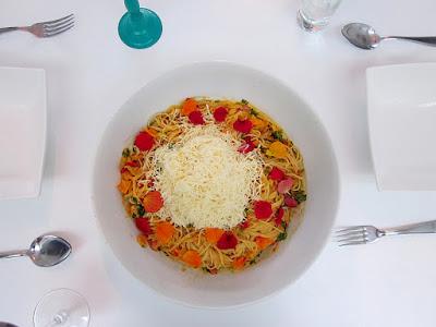 Vegetarische pasta met pompoen