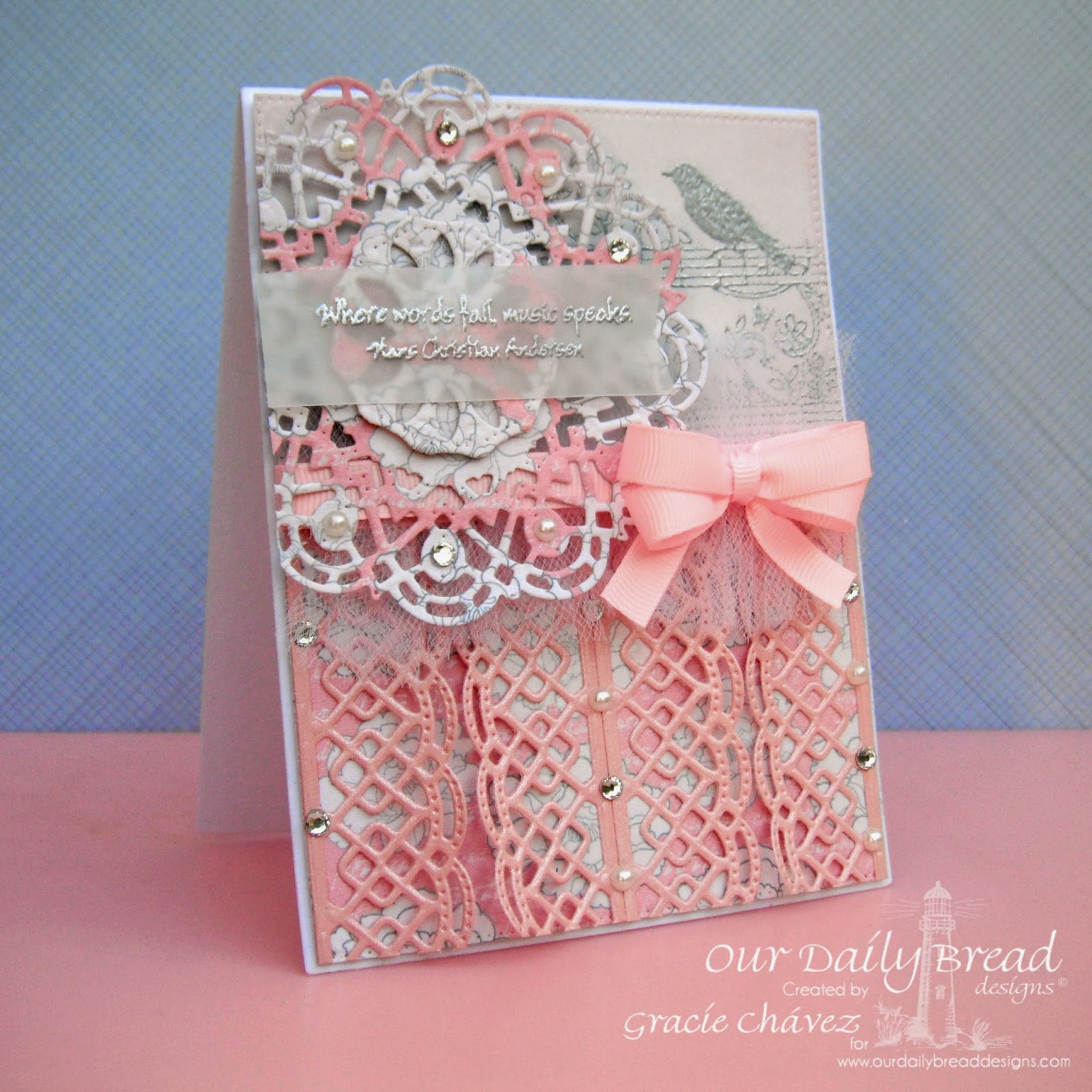 Our Daily Bread Designs, Music Speaks Stamp Set, Beautiful Borders Dies, Doily Dies, Flourished Star Pattern Die, Designed by Gracie Chavez