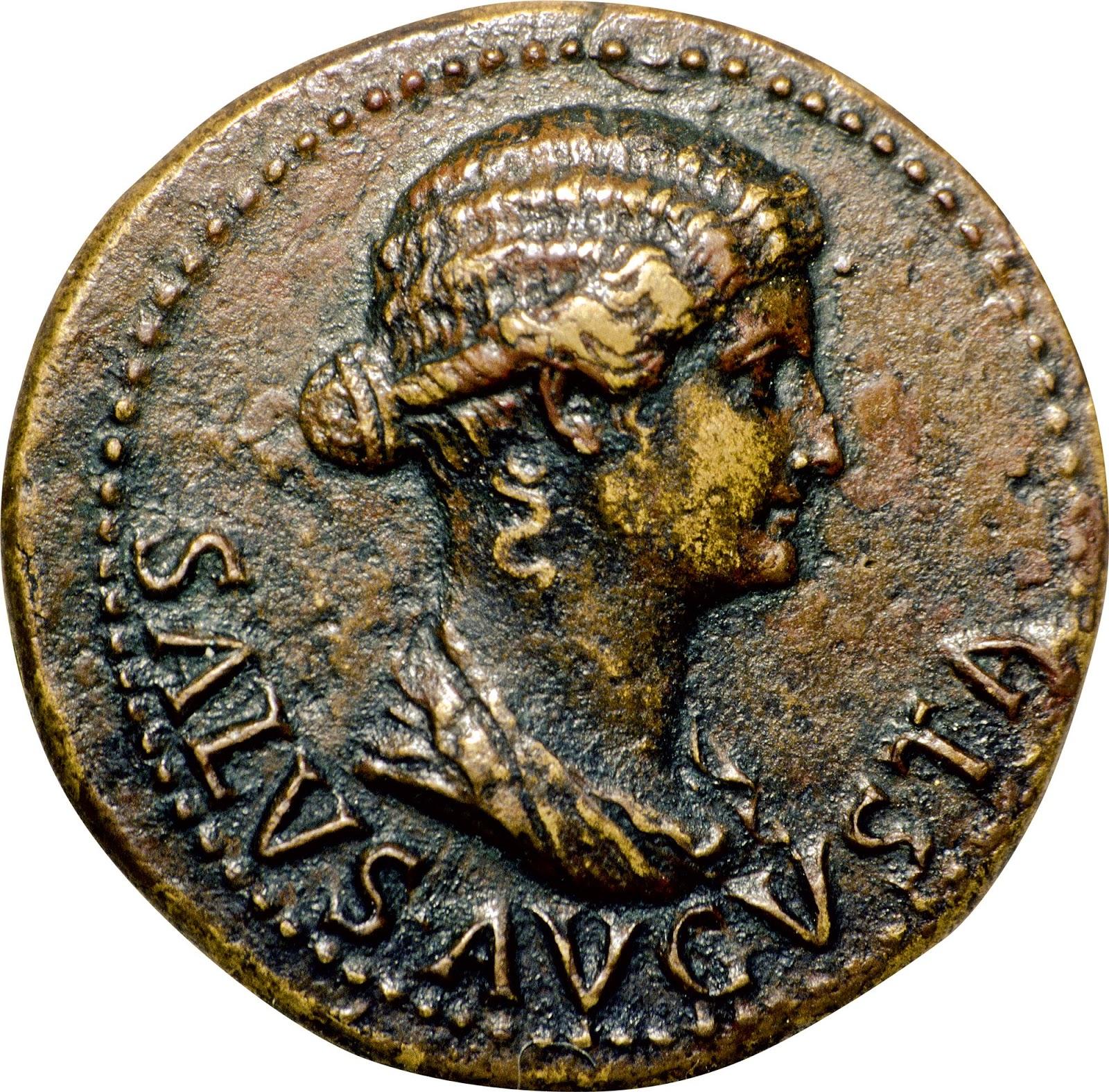 Efigie de Livia en una moneda. La importancia que Livia tuvo para Augusto queda reflejada en el hecho de que el emperador ordenara acuñar monedas con la efigie de su esposa.
