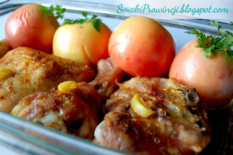 Pieczony kurczak z jabłkami - przepis - Smaki Prowincji