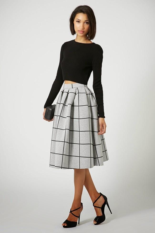 Topshop 2015 Pre-Spring Grid Print Bonded Midi Skirt 7 Looks