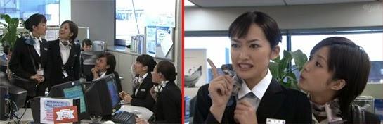 Hiroto, Misaki, Sekiyama, Wakamura and Higashino gather to chat. / Hirota and Misaki with comical expressions.