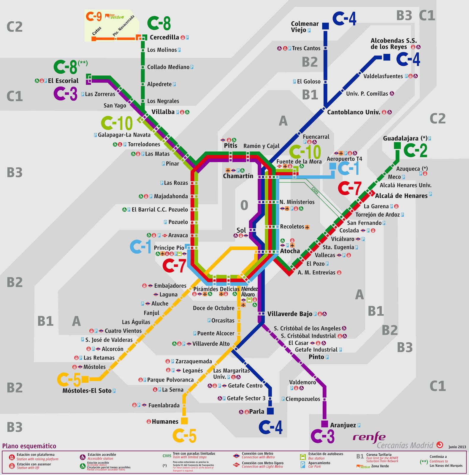 Mapa del tren de cercanías de Madrid
