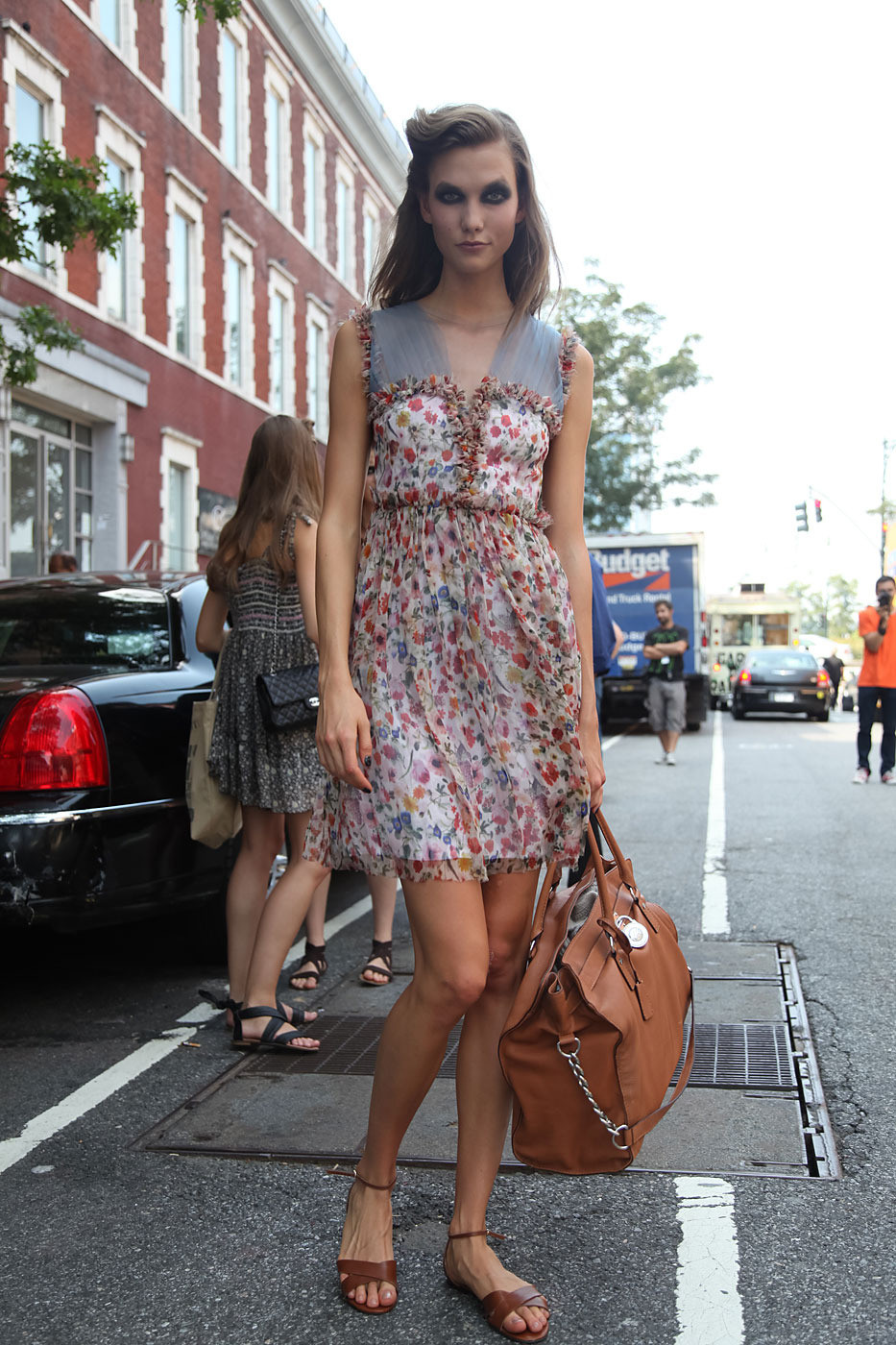 NYFW Street Style: Karlie Kloss in Florals & Tan Accessories