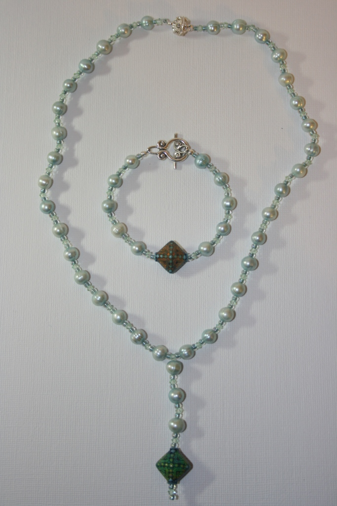 my craft world green pearl necklace bracelet set