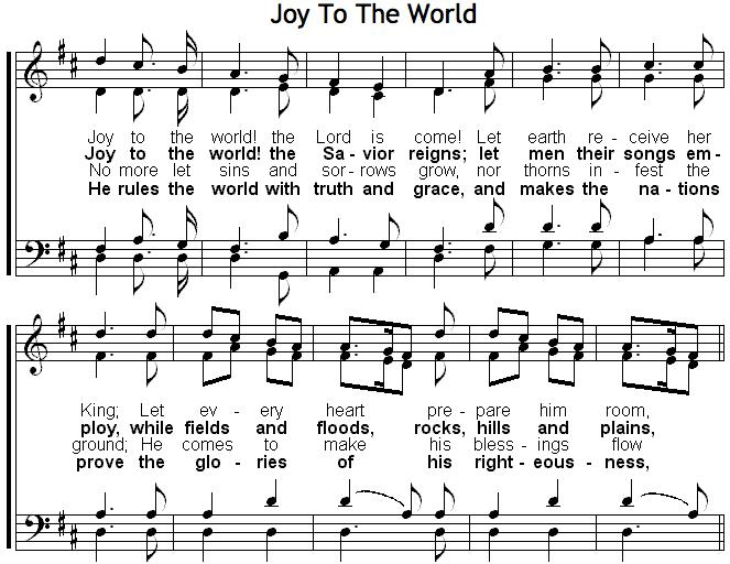 sheet music of Joy To The World