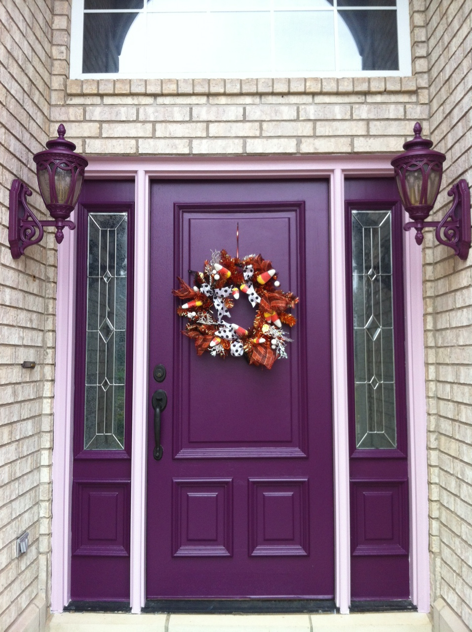 Lasun 39 s painting home exterior painting purple front for Exterior front door lights