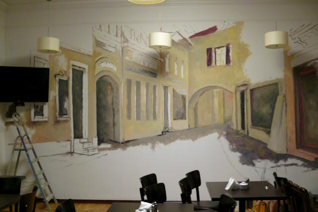 Aranżacja baru, malarstwo dekoracyjne, Mural w Pałacu Kulturu w Warszawie