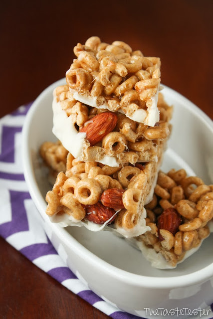 White Chocolate Honey Nut Cheerio Bars, a simple no-bake treat!