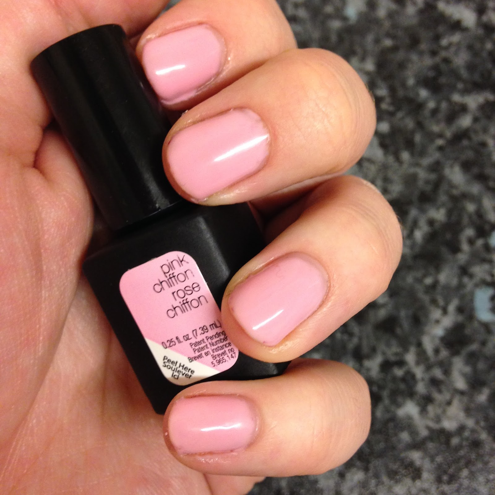 review sensationail gel nail kit, pink chiffon swatch