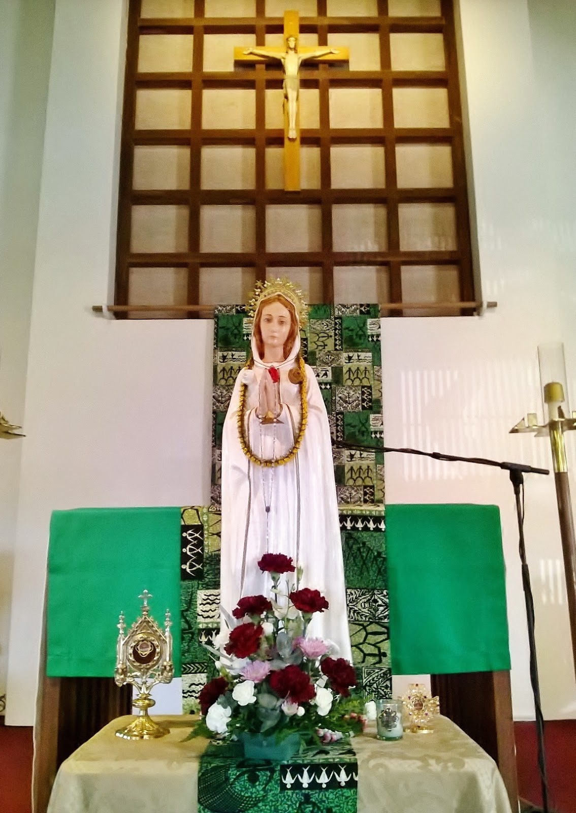 My pilgrim statue on display in the day chapel of st anthony of padua church kailua
