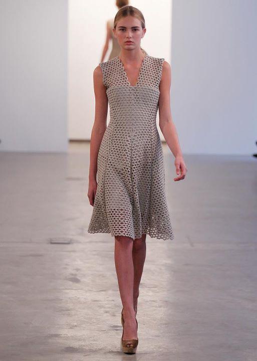 CK Lace pleated v neck dress