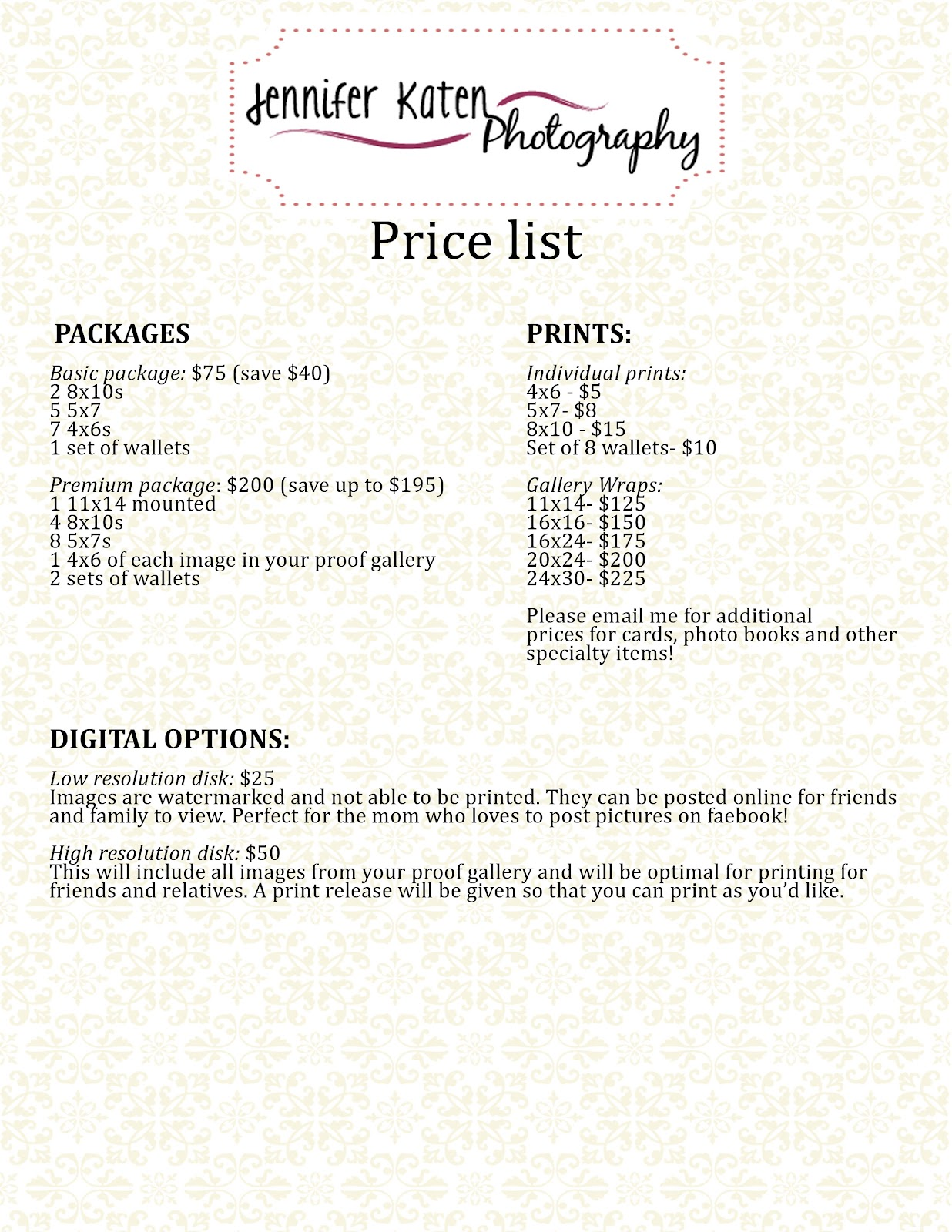 price sheet template .