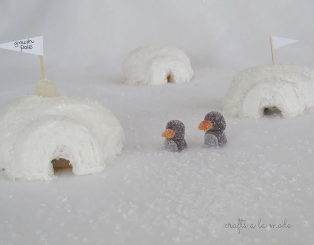cake igloos with gumdrop penguins