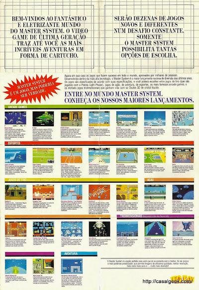 Panfleto jogos Master System - Frente