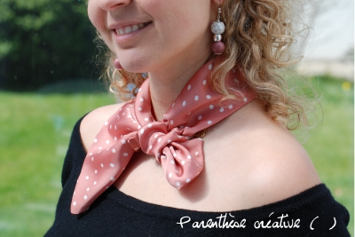 blog-parenthese creative-foulard-rose-pastel-pois-couture-satin-defi 13