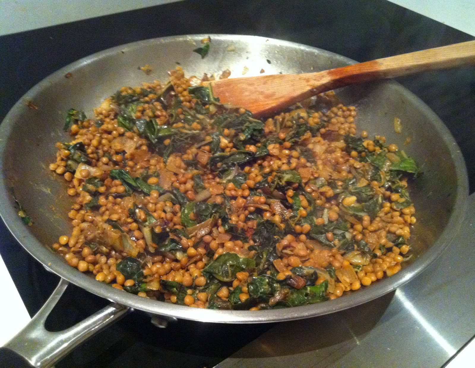 Prosciutto-wrapped green beans & pecorino over mustardy lentils with swiss chard @ Southern Spoon Blog