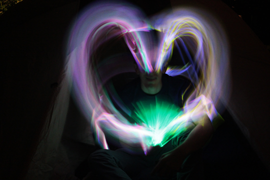big heart light painting