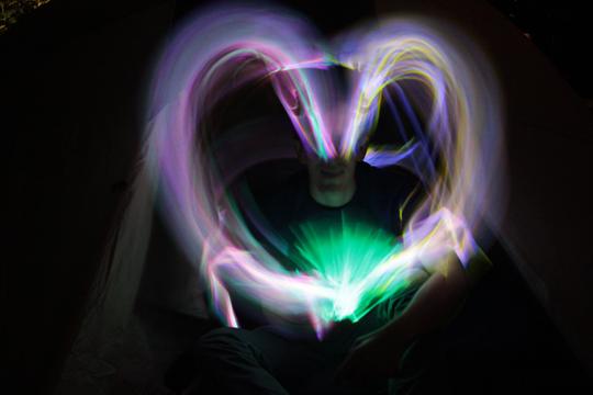 big heart light painting