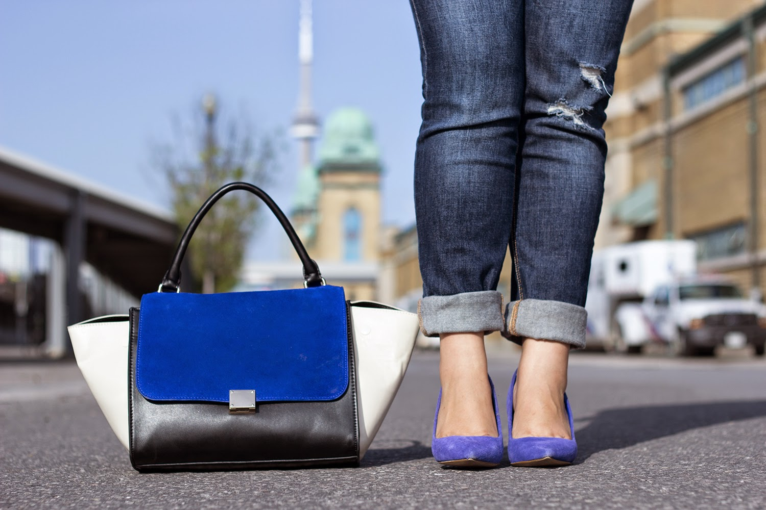 Le-Chateau-Blue-Pumps, ChicWish-Celine-like-bag