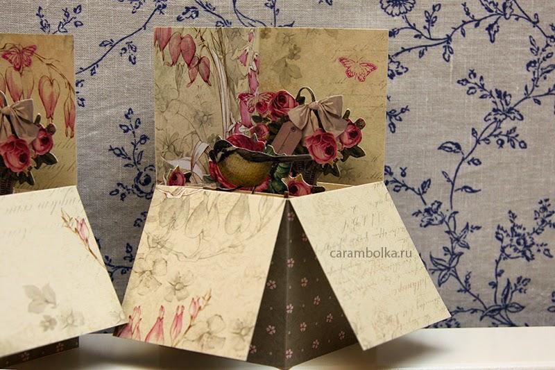 Открытка pop-up card box своими руками. Материалы из магазина www.scrapbookshop.ru Скрапбукшоп.