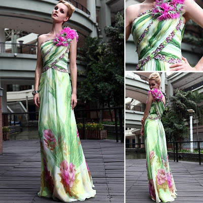 Print One Shoulder Floor Length Dress