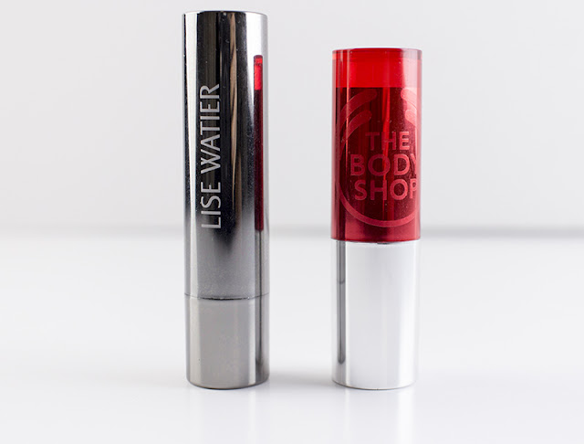Lise Watier Rouge Fondant Supreme Lipstick in Jennifer / The Body Shop Color Crush Lipstick in 110