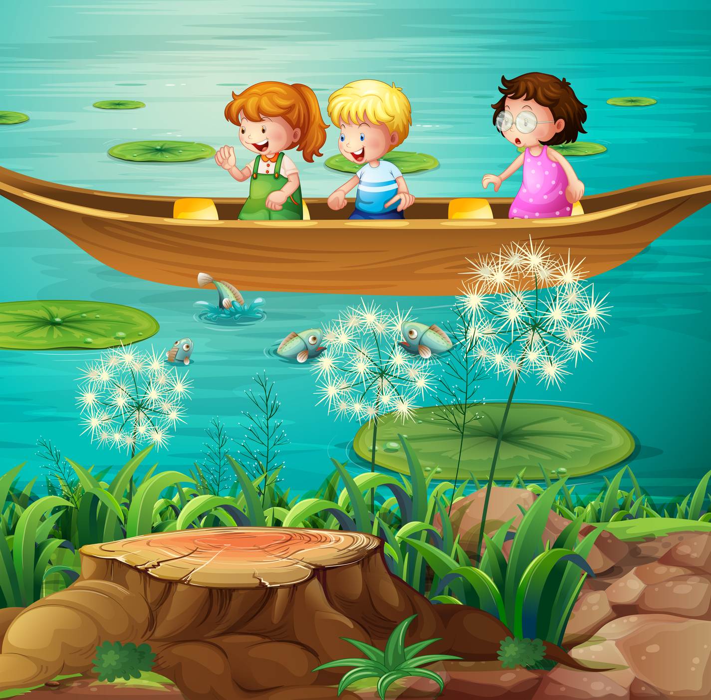 Children Rowing Boats Clip Art