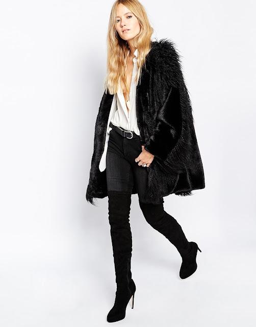 story lola black cape, black fur cape,