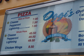 Outrageous pizza prices at Oggi's in Qualcomm Stadium, San Diego