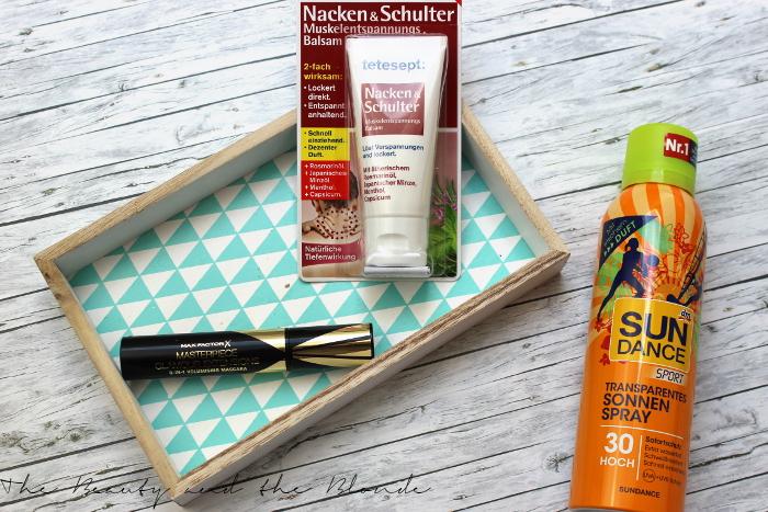 DM Lieblinge April 2015 Produkte, Max Factor Mascara, Sun Dance Sonnenspray, tetesept Mukelbalsam