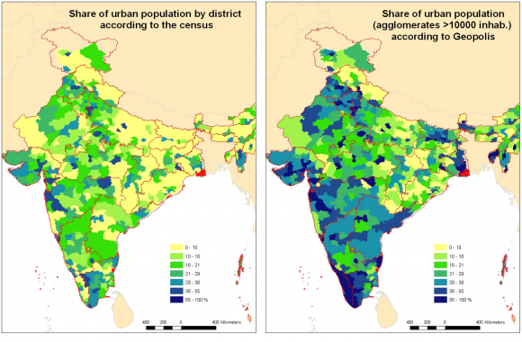 Urbanization in India and urban population