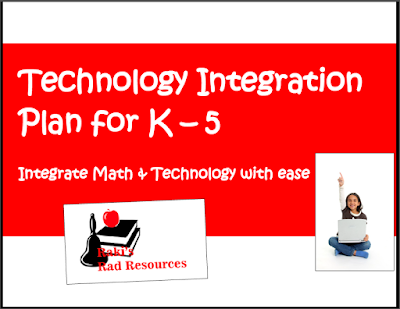 Technology and math integration plan for kindergarten through fifth grade - free from Raki's Rad Resources.