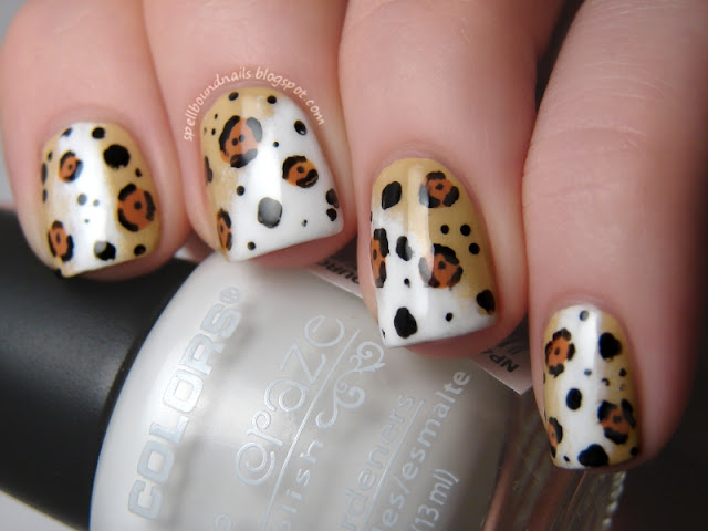 Spellbound Nails Nail Lacquer Polish Time Periods Challenge Ancient Mayan Maya Jaguar gods demi-gods protectors animal print China Glaze On Safari Kalahari Kiss Desert Sun sponge sponged gradient