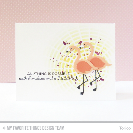 Anything is Possible Card by Torico featuring the Distressed Patterns stamp set, and the Laina Lamb Design Tickled Pink stamp set and Flamingos Die-namics, and the Concentric Circle Grid stencil #mftstamps