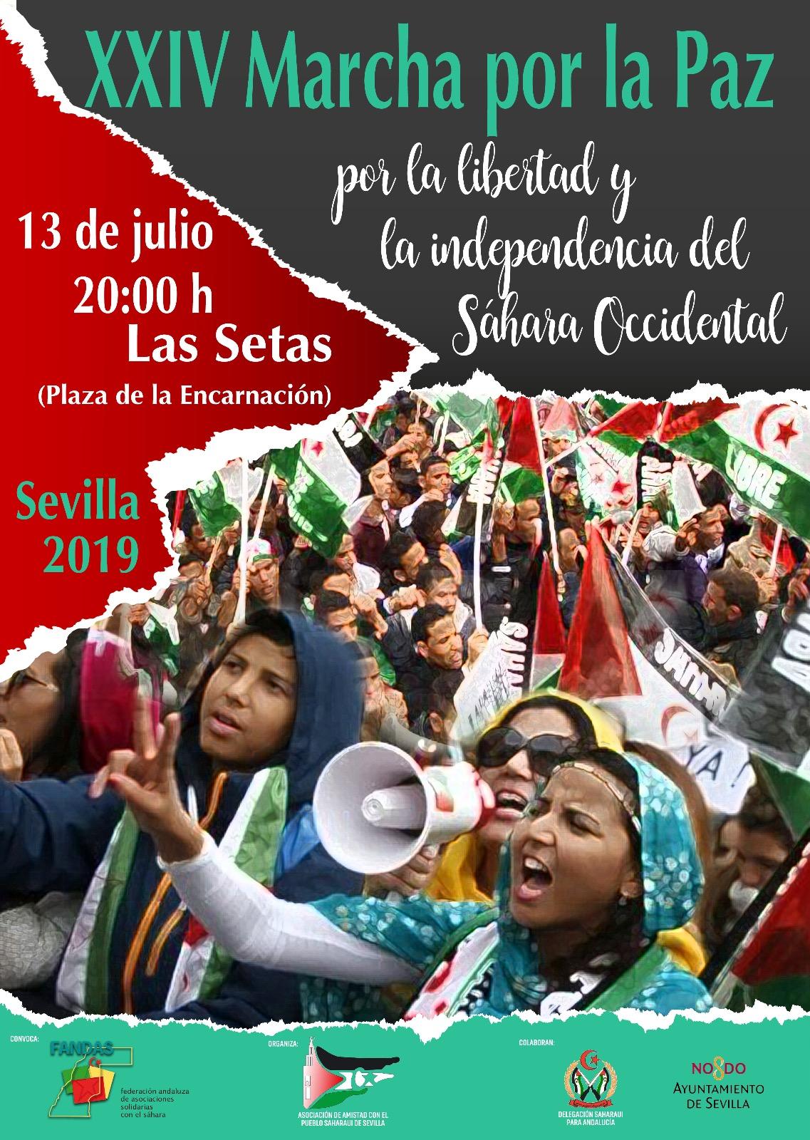 XXIV Marcha por la Paz, por la libertad e independencia del Sahara Occidental. Sevilla.