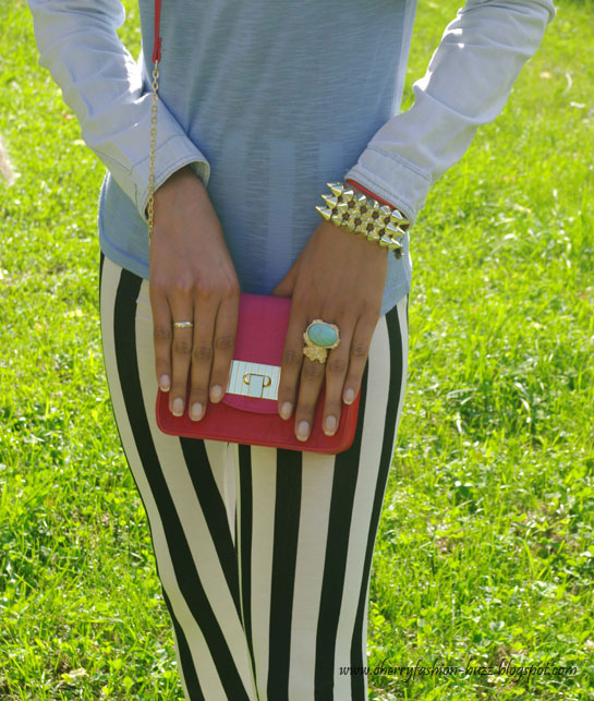 Pink/red color-block bag or clutch and spiky bracelet